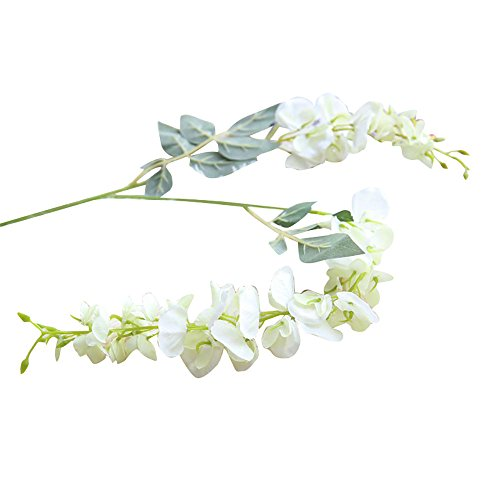 Artificial Silk Wisteria Fake Flowers, Cywulin 1 Piece Hanging Flower Plant Vine Decor Bunch for Wedding Bouquet House Office Garden Inddor Outdoor (White)