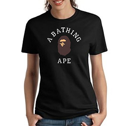 A bathing ape bape logo For Women T shirt (Large, Black) ()
