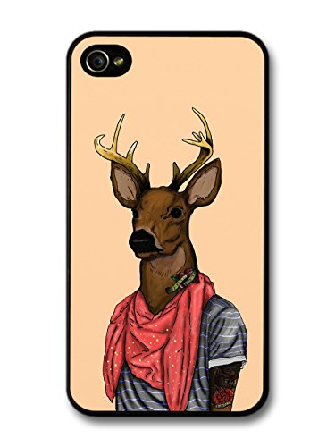 Funny Cute Deer Looking Cool in Scarf with Tattoos coque pour iPhone 4 4S