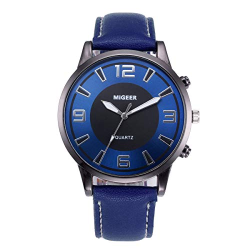 Men's Watch, Thing-ning Design Leather Band Analog Alloy Quartz Wrist Round Wrist Watch Movement Fashion Design Round Dial Gift (Blue)