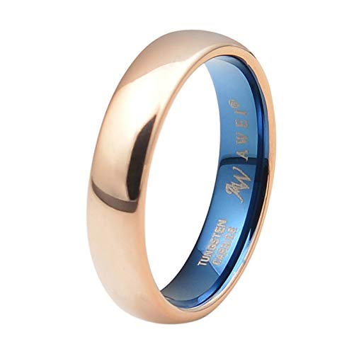 AW Comfort Fit Domed Tungsten Carbide Ring Classic Wedding Band Engagement Ring, Rose Gold Ring, 5mm Size 7 (His And Hers Wedding Bands Yellow Gold)