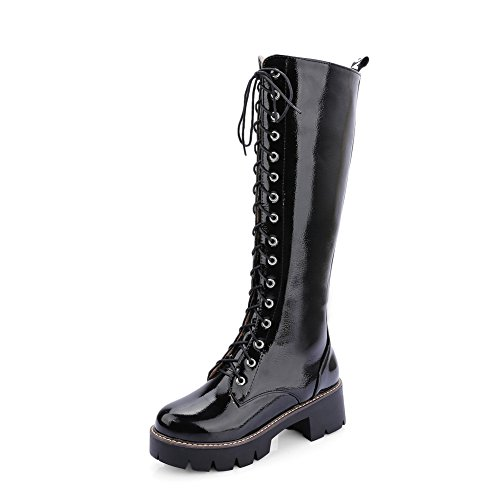 Round Imitated BalaMasa Girls Up Platform Lace Black Leather Boots Toe Heels Square Wqn7wYA6Uq