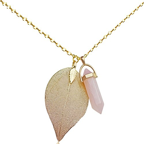 Injoy Jewelry Synthetic Rose Quartz Gemstone Necklace Crystal Healing Pointed Leaf Pendant Necklace with Gold Plated Chain (Crystal Jewelry Quartz)