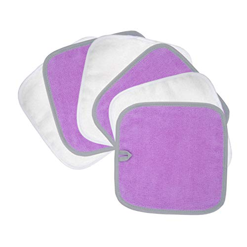Polyte Premium Hypoallergenic Chemical Free Microfiber Makeup Remover and Facial Cleansing Cloth, 8 x 8 in, 6 Pack (Purple,White)