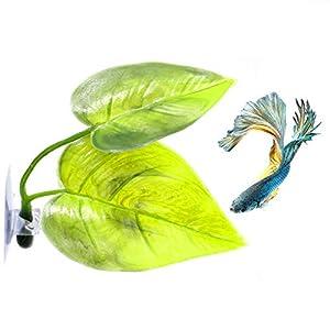 AQUEENLY Betta Hammock Leaf with Suction Cup, Fish Habitat Plastic Aquarium Plant 91