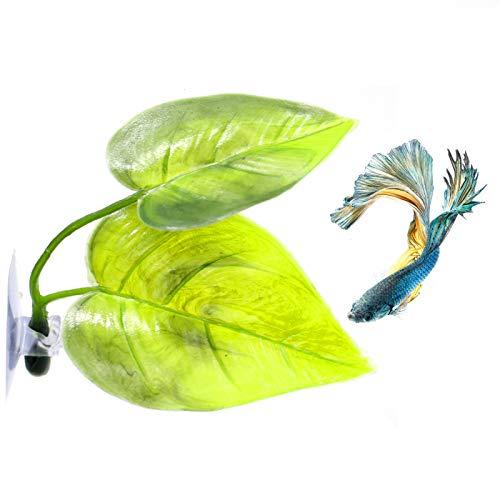 AQUEENLY Betta Hammock Leaf with Suction Cup, Fish Habitat Plastic Aquarium Plant