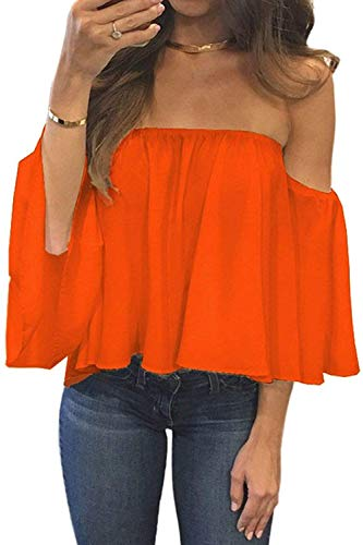 Orange Womens Pink T-shirt - BLUETIME Women Short Sleeve Cute Off Shoulder Tops Casual Summer Chiffon Blouses Tunic Shirts (XL, Orange)