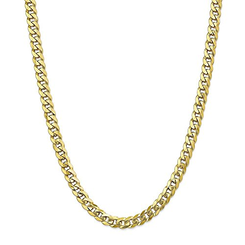 Solid 10k Yellow Gold Big Heavy 8mm Flat Beveled Cuban Curb Chain Necklace 24