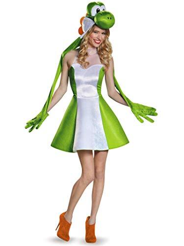 Luigi And Daisy Halloween Costumes (Disguise Women's Yoshi Female Costume, Green,)