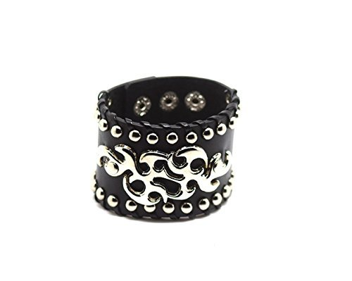 Ultra Tribal Pattern Leather Goth Steampunk Style Bracelet Wrist Cuff Wristbands Gothic Goth Emo Cyber Vintage Style Biker Rock Adult Teens (Emo Spike Goth)