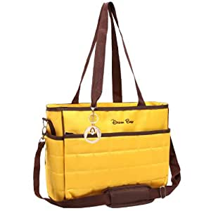 MyGift Quilted Handbag Style Baby Essential Shoulder Tote / Travel Baby Diaper Bag - Yellow