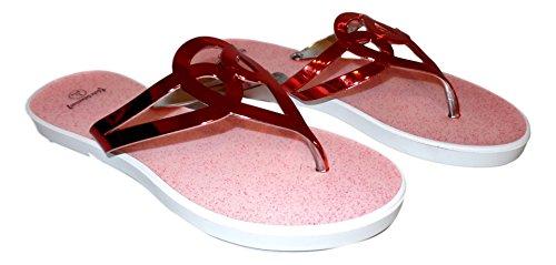 101 Strand Kvinners Metallisk Pyntet Tropp Flip Flop Sandal Red