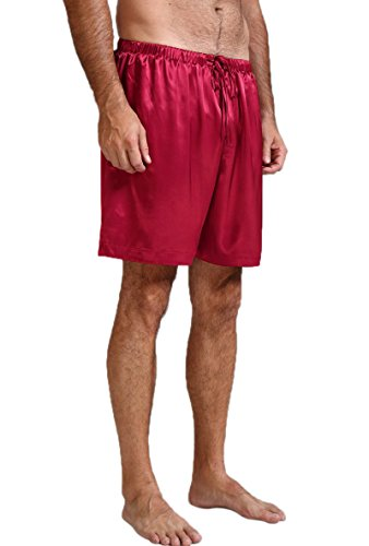 Mens Silk Lounge Pants - Mens Silk Satin Pajamas Pyjamas Shorts Lounge Beach Shorts Boxer Wine 3XL
