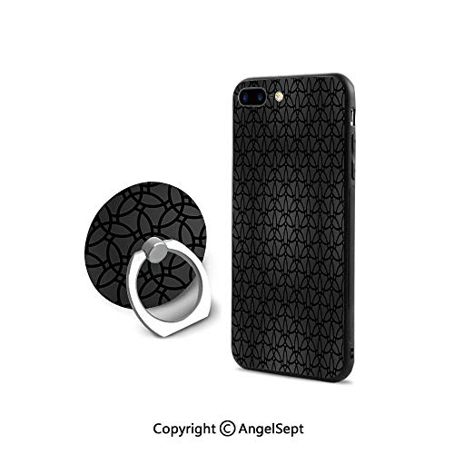 (Protective Case Compatible iPhone 7/8 with 360°Degree Swivel Ring,Geometric Pattern with Oriental Elements Moroccan Style Curves Lattice Grid Decorative,Durable Soft Touching,Black Dimgrey)