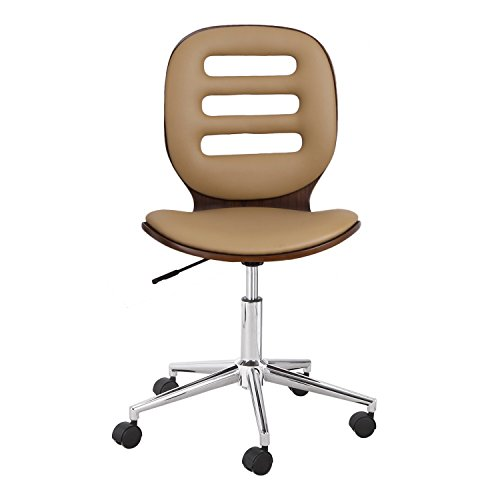 Joveco Bentwood Full Back Adjustable Swivel Armless Office Chair Computer Chair Brown