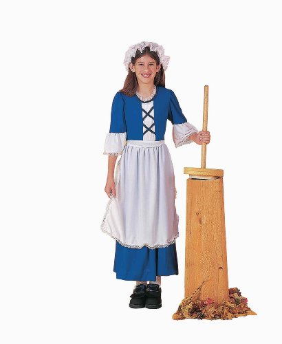 Forum Novelties Colonial Girl Costume, Child's Small Girl Costume Dress Hat Apron