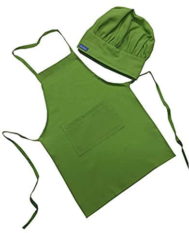 Children Kids Lime Green Chef Set Apron & Adjustable Hat, Real Fabric Lightweight (SMALL fits 2-8) - Childrens Chef Hat