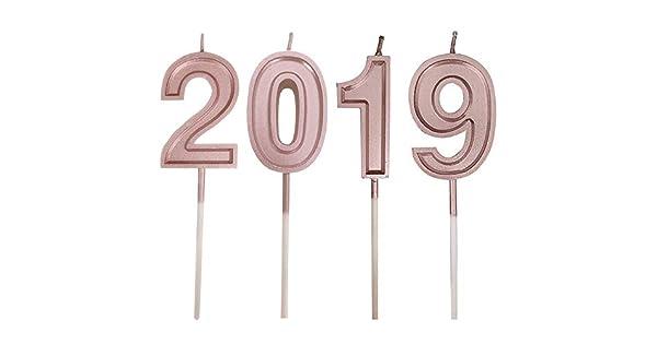 Amazon.com: Fxbar, Vela de cumpleaños con número 2019, color ...
