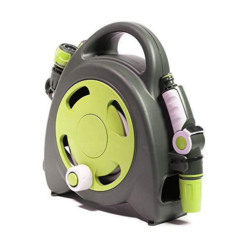 (GF Garden Aquabag Mini Portable Hose and Reel - Max. 58 psi, 38 ft. Retractable Hose Line - Lime)