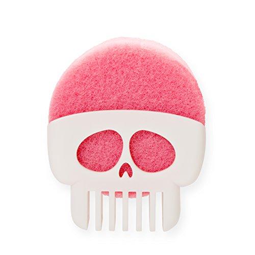 Peleg Design BRAIN DRAIN by White Skull Sponge Holder for Kitchen, Bath, or Sink that Drains and Dries All Types of Sponges – 1 Sponge Included - White Cap Plastic Drain