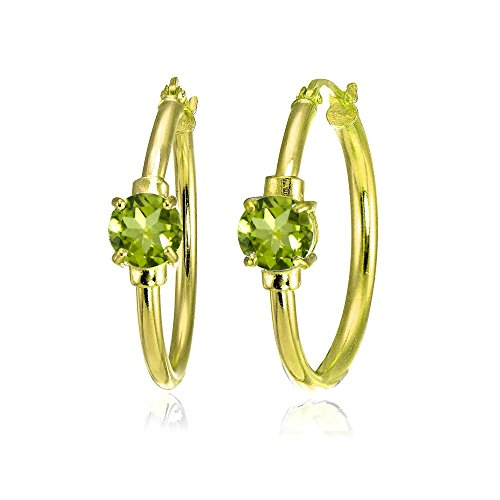 (Yellow Gold Flashed Sterling Silver Peridot Solitaire 25mm Hoop Earrings)
