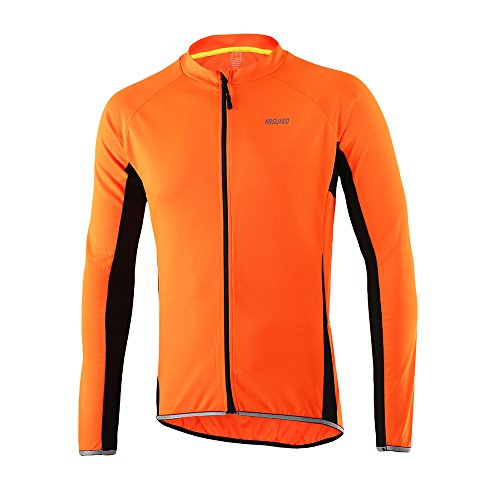 ARSUXEO Outdoor Sports Men's Slim Fit Cycling Jersey Long Sleeves Bike Bicycle MTB Shirts 6022 Orange Size Large