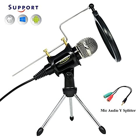 Professional Studio Recording Condenser Microphone, Microphone set with stand & shock mount Great for PC/Laptop/tablet, iphone & Android, PLUG AND PLAY- MC6B
