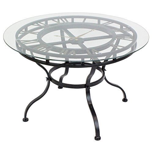 Charlton Home Redding Round Glass Coffee Table with Clock, Distressed Dark Gray Finish