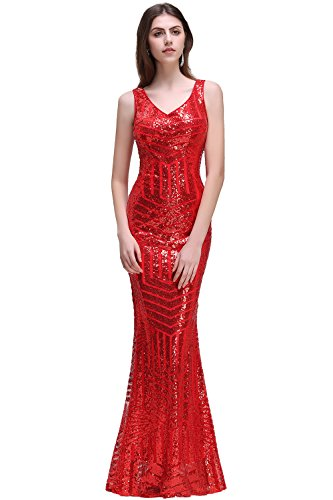 Rot Meerjungfrau Abendkleider Cocktailkleider Lang Spitze Lang Babyonline Damen Ballkleider Lang xRn1BBU