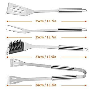 WisFox 28 PCS BBQ Set Barbecue Tools Grill Accessories Set Premium Stainless Steel Barbecue Grilling Utensil Kit with…