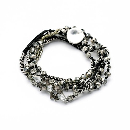 Termichy Bohemian Retro Handcrafted Black Braided Strand Wrap Bracelet with Jet Black and Silver Tone Faceted Beads Crystals Charms Chains for Women Teen - Bead Chain Braided