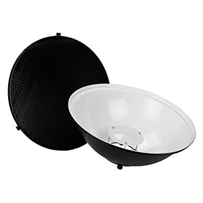 Image of Diffusers Fotodiox Pro Beauty Dish 18' with Honeycomb Grid and Speedring for Speedotron Brown & Black Line Strobe Light