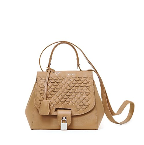 AKOSHA tan camel leather tote handbag with innovative woven design and silver hardware