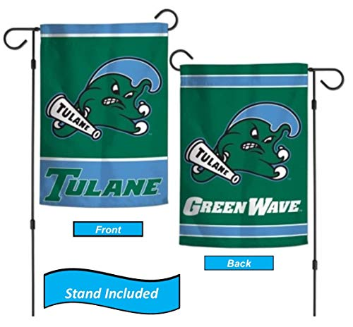(Tulane Green Wave Garden Flag Set with Stand, Printed in The USA, 12.5