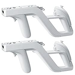 Hkwx 2 Pcs Premium Zapper Gun For Nintendo Wii Wireless Remote Controller Game, White