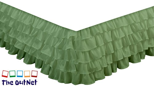 TheOutNet Collection Egyptian Cotton 750TC 1 Piece Multi Ruffle Bed Skirt Full-XL Size 18'' Inch Drop Length Moss Solid - Moss Full 18' Drop