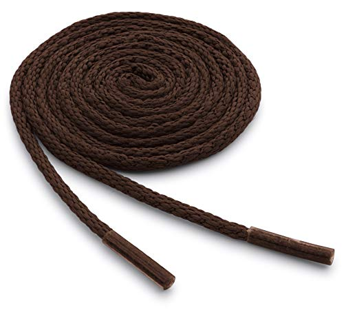 OrthoStep Waxed Very Thin Dress Round Classic Brown 27 inch Shoelaces 2 Pair - Style Shoes Dress Italian Brown