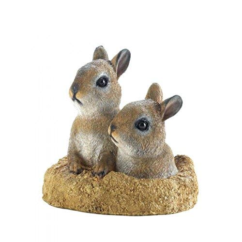 Rabbits PEEK-A-BOO GARDEN BUNNIES DECOR Bunny Rabbit Cute Animal Statue Yard Garden Room Indoor Outdoor Patio Gift Mantle Den ()