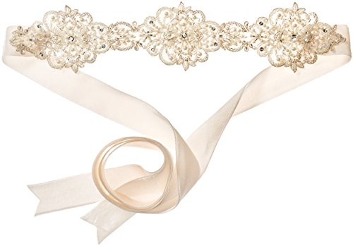 Twigs & Honey Women's Beaded Lace Ivory Bridal Belt, One Size by Twigs & Honey
