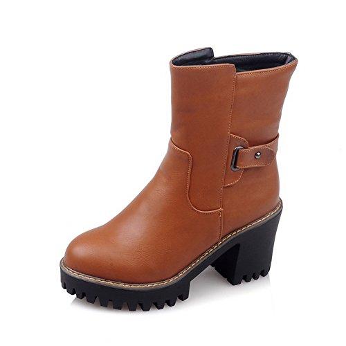 BalaMasa Girls Chunky Heels Buckle Platform Imitated Leather Boots Yellow AnovzCn