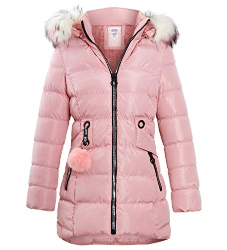 Khaki Age 7-13 Years SS7 New Girls Padded Canvas Parka Faux Fur Coat