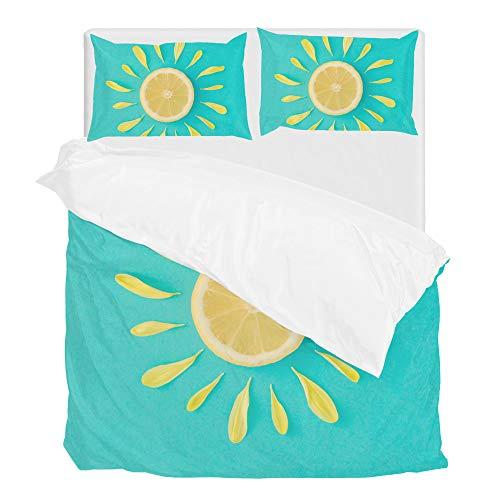 Sun Made Lemon Yellow Flower Petals Duvet Cover Set Queen Bedding Set Comforter Covers 1 Duvet Cover and 2 Pillow Shams