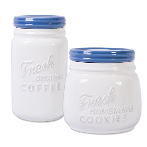 DII 2-Piece Vintage, Retro, Farmhouse Chic, Mason Jar Inspired Ceramic Kitchen Canister, Cookie Jar With Airtight Lid For Food Storage, Store Coffee, Cookies, Crackers, Chips and More - Blueberry Blue Storage Jar