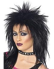Smiffy's-42238 Peluca de Diva del Rock, Larga Corte Mullet, Color Negro, Tamaño único (42238)