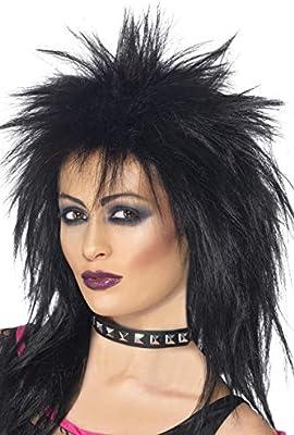 Smiffys-42238 Peluca de Diva del Rock, Larga Corte Mullet, Color Negro, Tamaño único (42238)