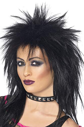 Smiffys Women's Long Black Mullet Wig, One Size, Rock Diva Wig, 42238
