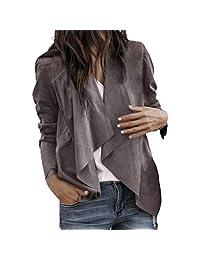Open Front Cardigan,Vanvler Leather Jacket Women Short Coat Long Sleeve Lapel Office Suits Work Khaki