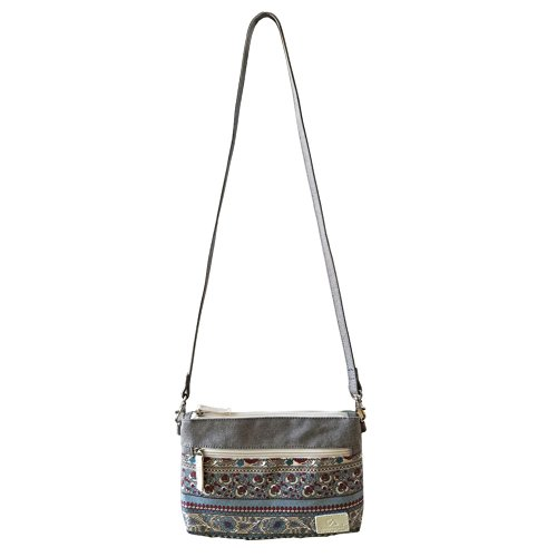 Cellphone with Grey FanCarry crossbody Wallet Zipper Purse Pocket Ethnic Coin Print Canvas Pouch wOxqztP8