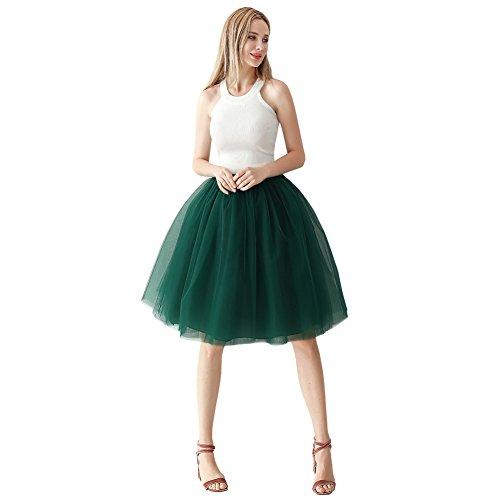 ShowYeu Femmes A-Ligne 60 CM Tutu Tulle Jupon Robe de Fte Mi-Mollet Vintage Demoiselles Party Dress Balle De Bal Vert Fonc