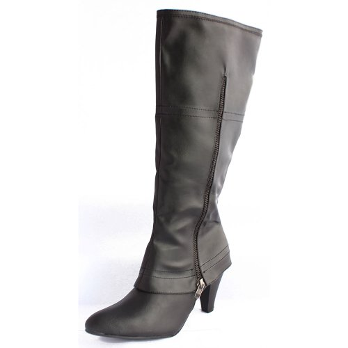 Women's Black Tall Knee High Boots Cuban Heel Zipper Fastening Point Toe UK 3-8 NEW 752970 BvrwY1oUd